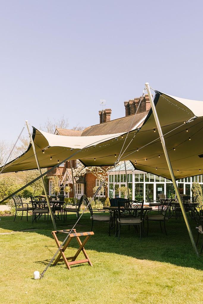 Tent in restaurant garden