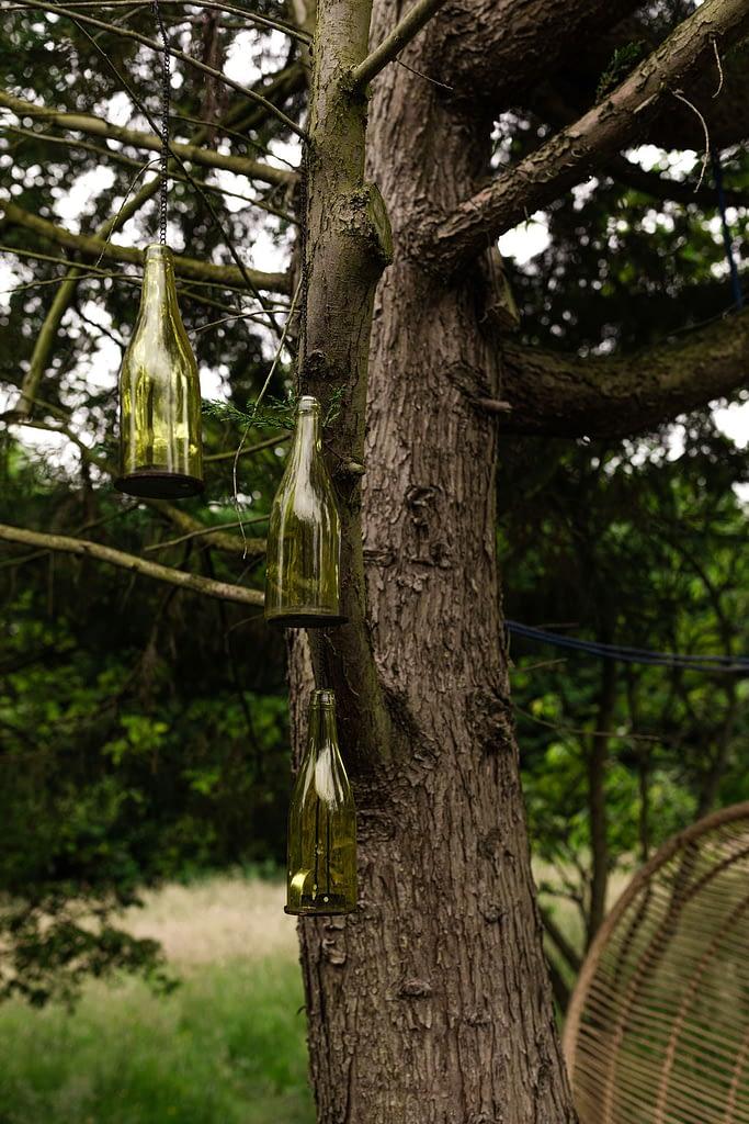 Bottles as outdoor lighting