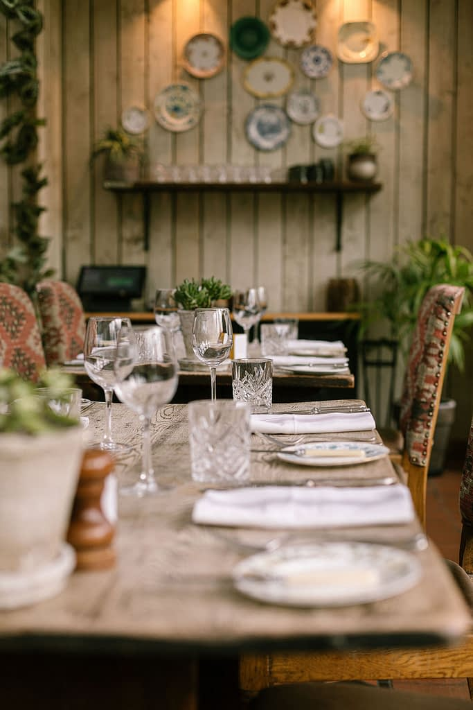 table set for lunch at Farmhouse at Redcoats