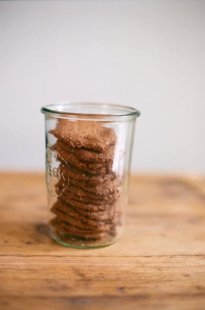 Homemade gluten free oat biscuits in Weck jar - analogue photography